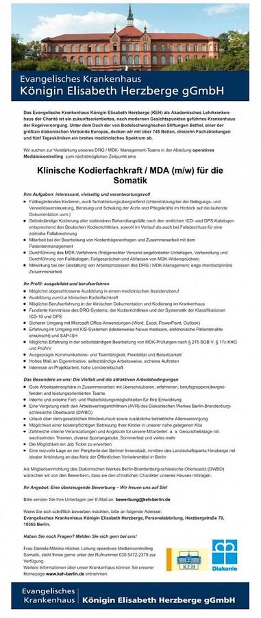 Klinische Kodierfachkraft Mda Somatik Ev Krankenhaus Königin