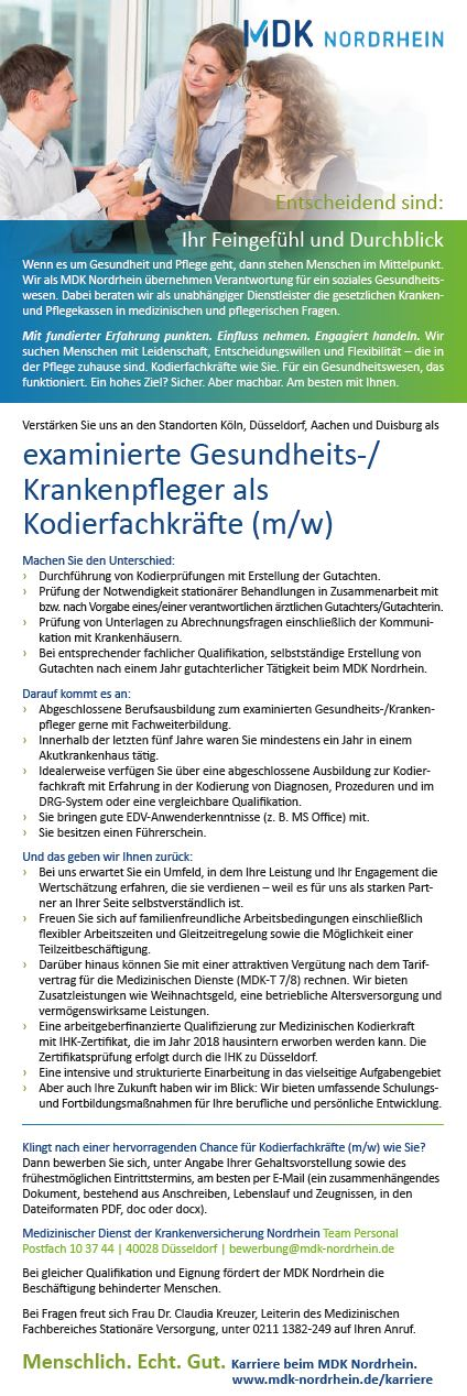 Kodierfachkräfte MDK Medizinischer Dienst der Krankenversicherung ...