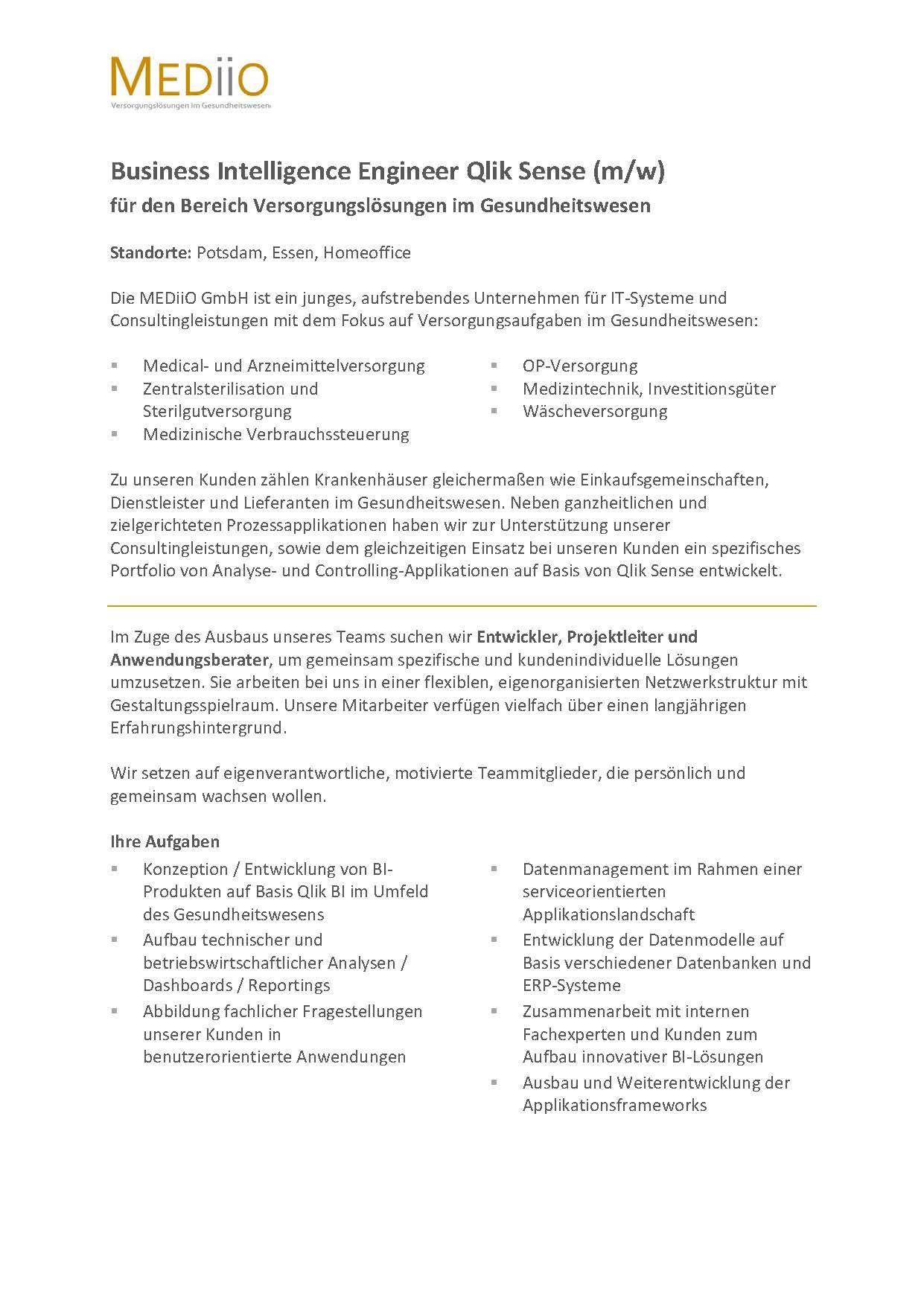 Business Intelligence Engineer Qlik Sense (m/w): MEDiiO GmbH, Potsdam /  Essen - myDRG - Forum Medizincontrolling, Kodierung & Krankenhausabrechnung