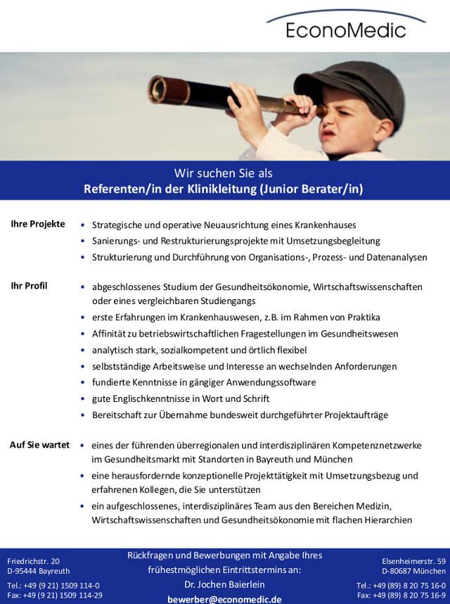 Die EconoMedic AG, Bayreuth sucht einen/eine Referenten/in der ...