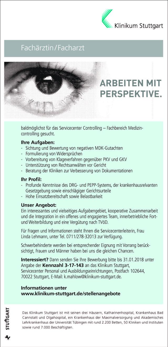 Klinikum Stuttgart: Facharzt (m/w)