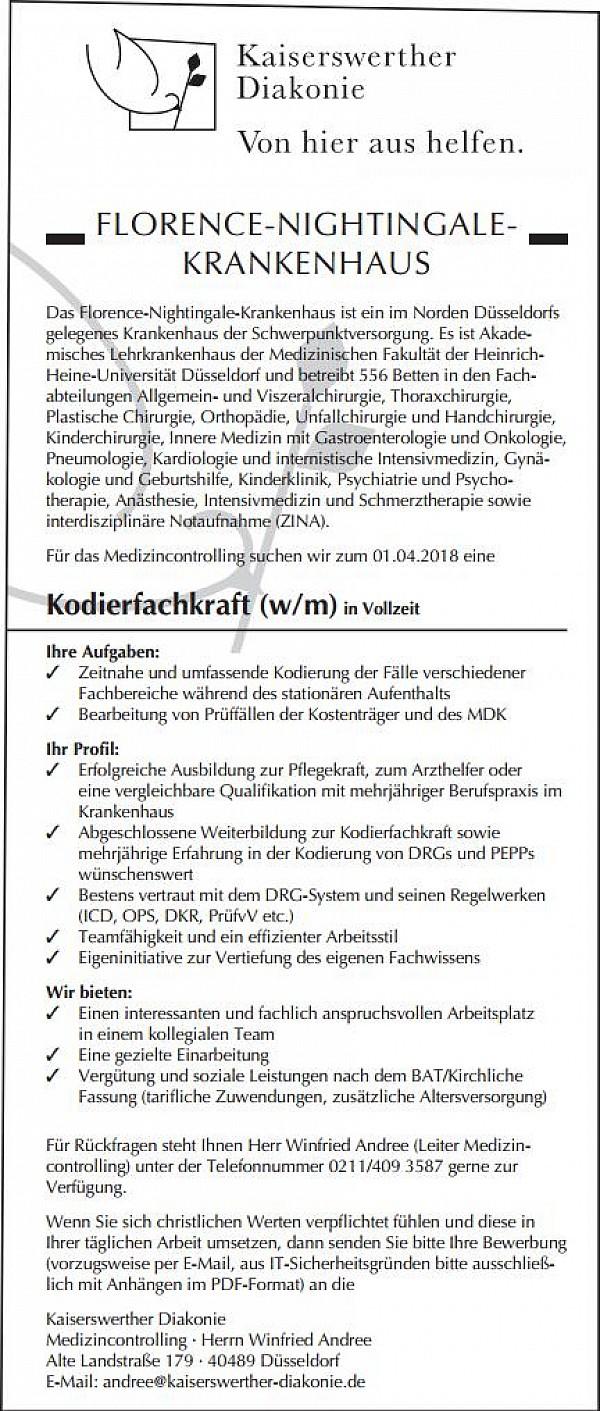 florence nightingale krankenhaus dsseldorf kodierfachkraft - Uni Dsseldorf Bewerbung