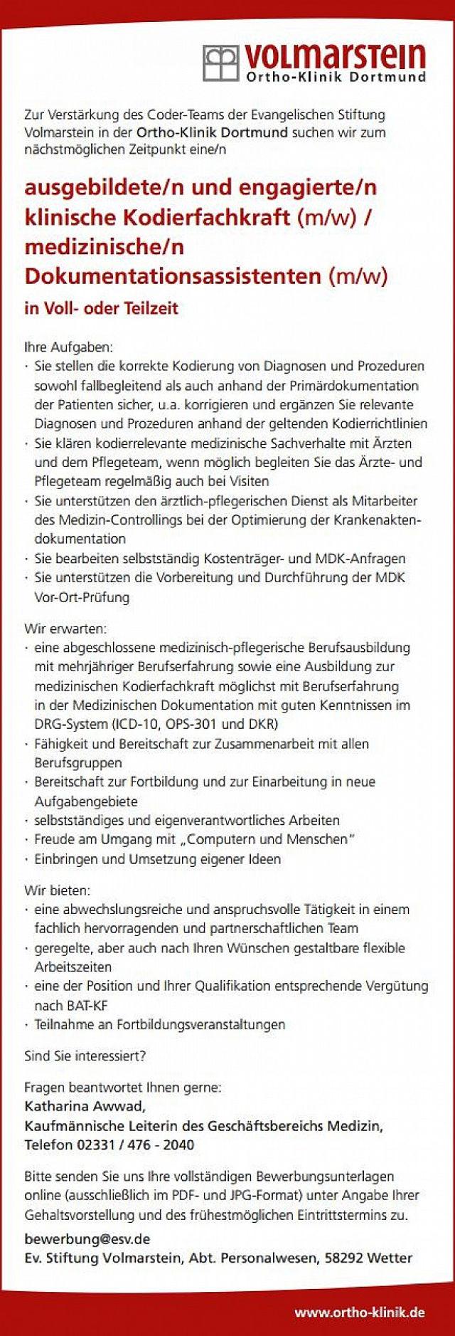 Ortho-Klinik Dortmund: Klinische Kodierfachkraft / medizinischer  Dokumentationsassistent (m/w)