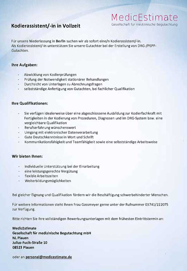 Kodierassistent Medicestimate Gmbh Berlin Mydrg