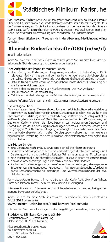Städtisches Klinikum Karlsruhe: Klinische Kodierfachkräfte (m/w)