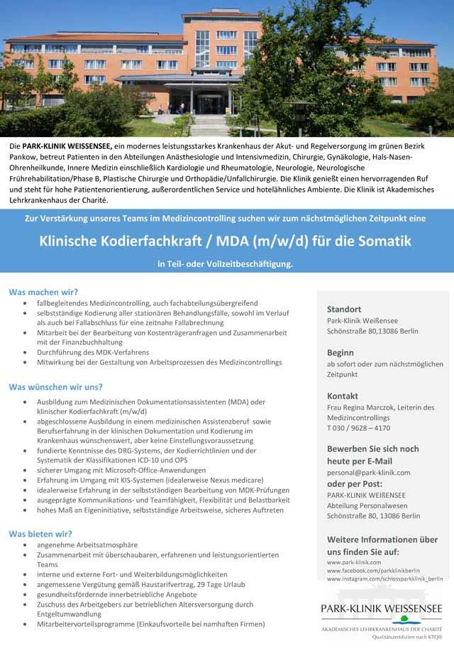 Parkklinik Weißensee Berlin: Klinische Kodierfachkraft / MDA (m/w/d)