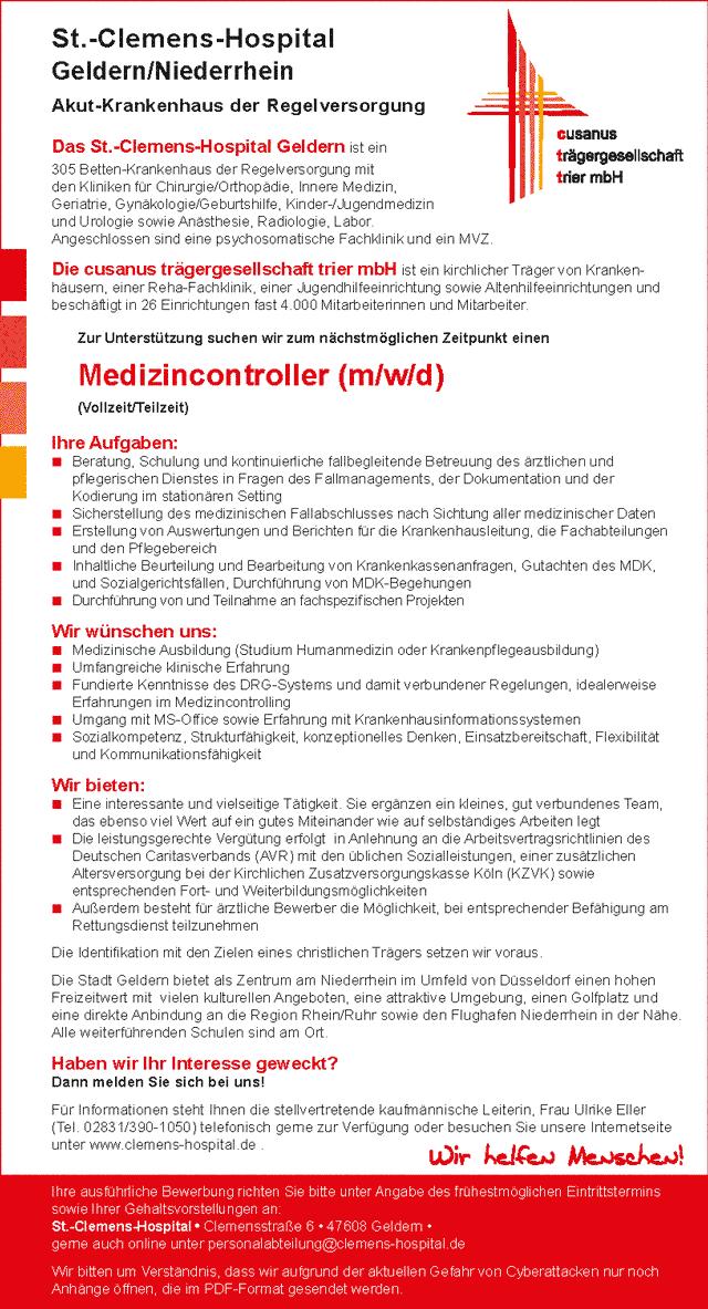 St.-Clemens-Hospital Geldern: Medizincontroller (m/w/d)