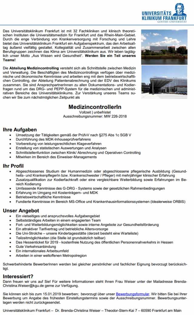 Medizincontroller Universitätsklinikum Frankfurt Am Main Mydrg